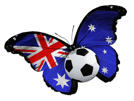 Concept - butterfly with Australian flag flying near the ball, like football team playing photo