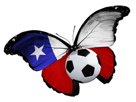 ball like: Concept - butterfly with Chile flag flying near the ball, like football team playing Stock Photo