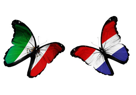 penalty flag: Concept - two butterflies with Mexico and Holland flags flying, like two football teams playing