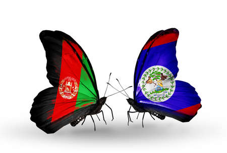 Two butterflies with flags on wings as symbol of relations Afghanistan and Belize photo
