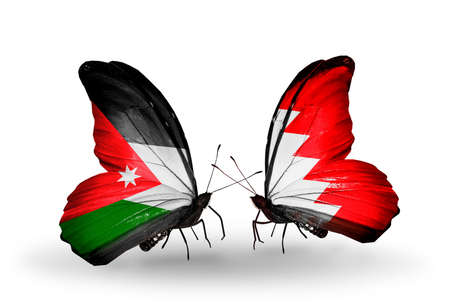 bahrain money: Two butterflies with flags on wings as symbol of relations Jordan and Bahrain