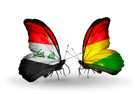 iraq money: Two butterflies with flags on wings as symbol of relations Iraq and  Bolivia