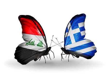 iraq money: Two butterflies with flags on wings as symbol of relations Iraq and Greece