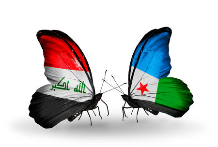 iraq money: Two butterflies with flags on wings as symbol of relations Iraq and Djibouti