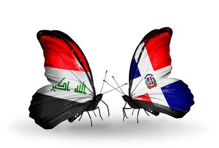 iraq money: Two butterflies with flags on wings as symbol of relations Iraq and Dominicana