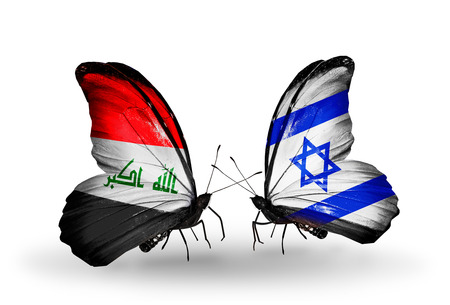 iraq money: Two butterflies with flags on wings as symbol of relations Iraq and  Israel