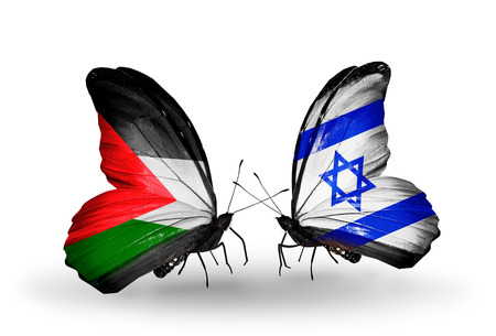 Two butterflies with flags on wings as symbol of relations Palestine and Israel Stock Photo