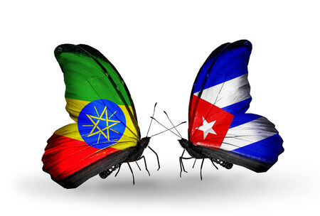 Two butterflies with flags on wings as symbol of relations Ethiopia and Cuba