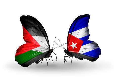 Two butterflies with flags on wings as symbol of relations Palestine and Cuba