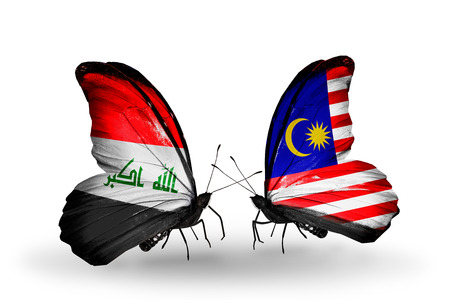 iraq money: Two butterflies with flags on wings as symbol of relations Iraq and Malaysia Stock Photo