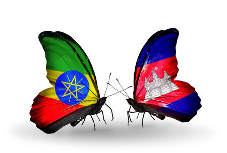 Two butterflies with flags on wings as symbol of relations Ethiopia and Cambodia photo