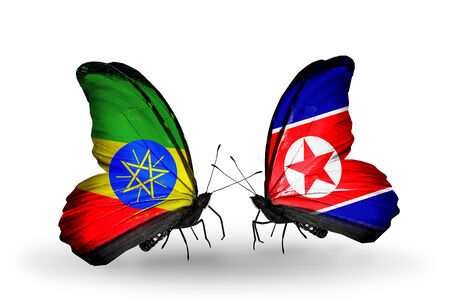 Two butterflies with flags on wings as symbol of relations Ethiopia and North Korea photo