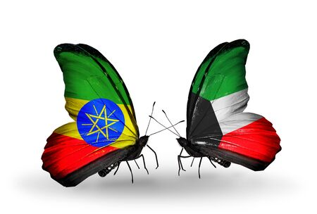 Two butterflies with flags on wings as symbol of relations Ethiopia and Kuwait photo