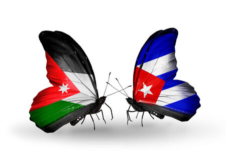 Two butterflies with flags on wings as symbol of relations Jordan and Cuba