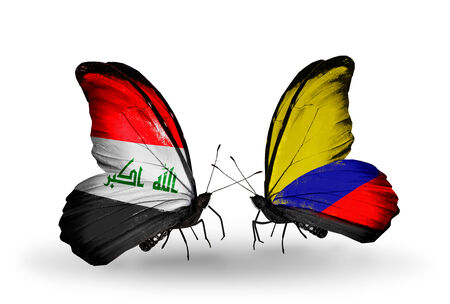 iraq money: Two butterflies with flags on wings as symbol of relations Iraq and Columbia