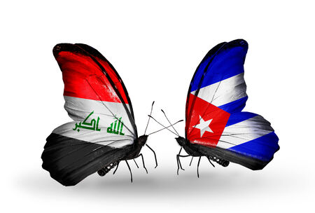 Two butterflies with flags on wings as symbol of relations Iraq and Cuba