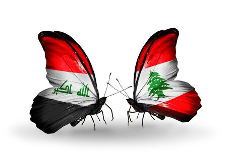 iraq money: Two butterflies with flags on wings as symbol of relations Iraq and Lebanon