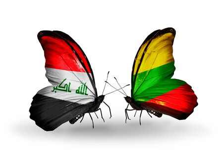 iraq money: Two butterflies with flags on wings as symbol of relations Iraq and Lithuania