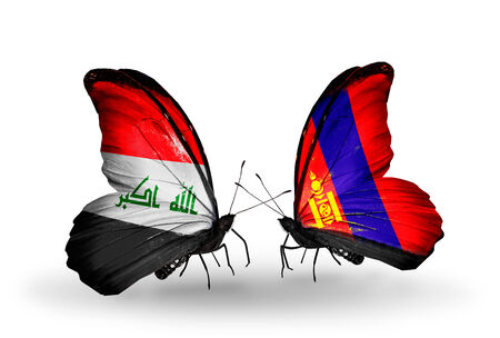 iraq money: Two butterflies with flags on wings as symbol of relations Iraq and Mongolia Stock Photo