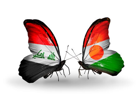 iraq money: Two butterflies with flags on wings as symbol of relations Iraq and Niger