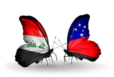 iraq money: Two butterflies with flags on wings as symbol of relations Iraq and Samoa Stock Photo