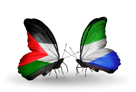 Two butterflies with flags on wings as symbol of relations Palestine and  Sierra Leone photo