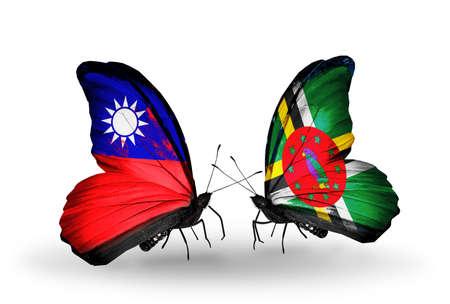 Two butterflies with flags on wings as symbol of relations Taiwan and Dominica photo