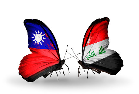 iraq money: Two butterflies with flags on wings as symbol of relations Taiwan and Iraq