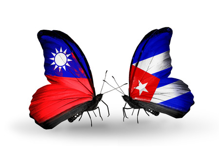 Two butterflies with flags on wings as symbol of relations Taiwan and Cuba Stock Photo
