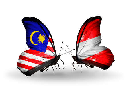 Two butterflies with flags on wings as symbol of relations Malaysia and Austria photo