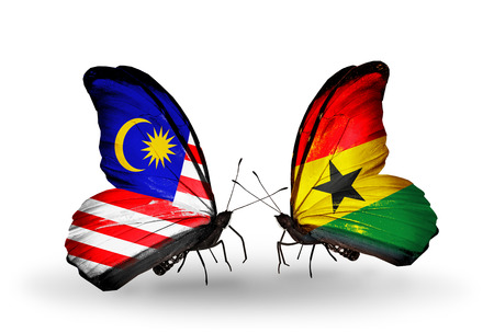 Two butterflies with flags on wings as symbol of relations Malaysia and Ghana photo