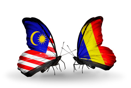 Two butterflies with flags on wings as symbol of relations Malaysia and Chad, Romania photo