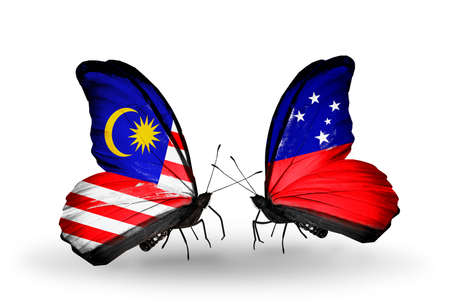 Two butterflies with flags on wings as symbol of relations Malaysia and  Samoa photo