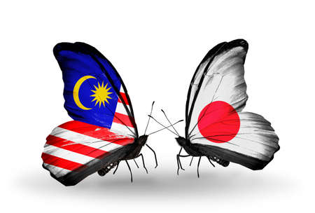 Two butterflies with flags on wings as symbol of relations Malaysia and Japan photo