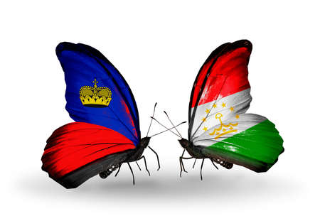 economy of tajikistan: Two butterflies with flags on wings as symbol of relations Liechtenstein and Tajikistan