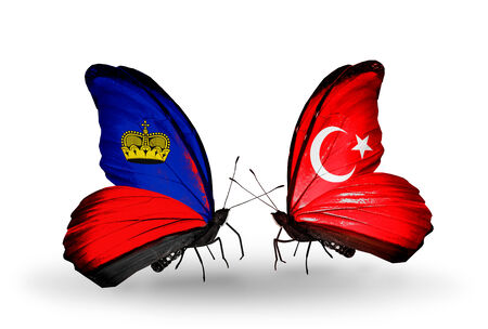 Two butterflies with flags on wings as symbol of relations Liechtenstein and Turkey photo
