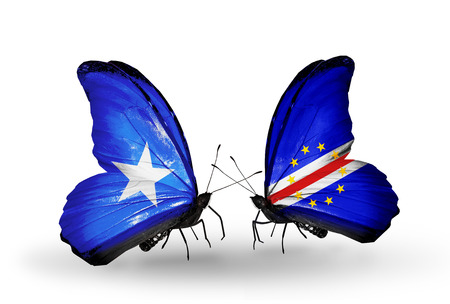 Two butterflies with flags on wings as symbol of relations Somalia and Cape Verde photo