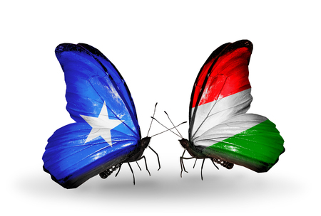 Two butterflies with flags on wings as symbol of relations Somalia and Hungary photo