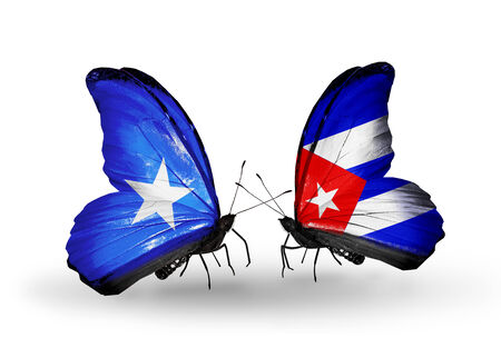 Two butterflies with flags on wings as symbol of relations Somalia and Cuba