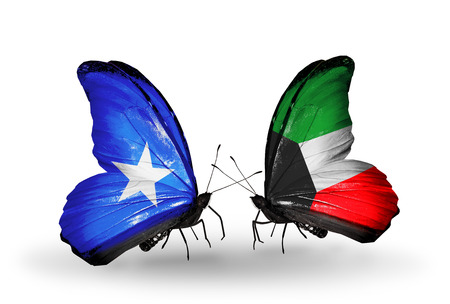 Two butterflies with flags on wings as symbol of relations Somalia and Kuwait photo