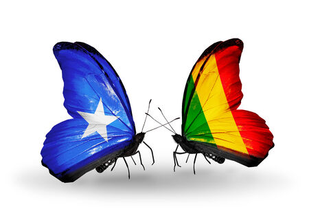 Two butterflies with flags on wings as symbol of relations Somalia and Mali photo