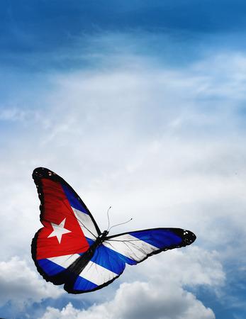 cuba butterfly: Cuba flag butterfly flying on sky background Stock Photo