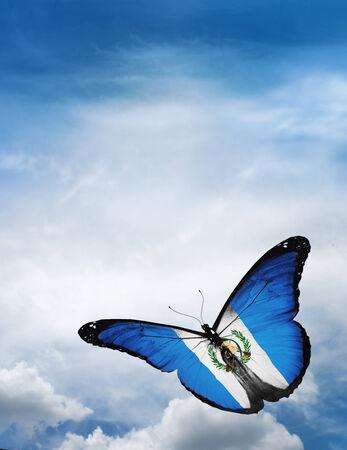 bandera de guatemala: Guatemala bandera de la mariposa volando sobre el cielo de fondo