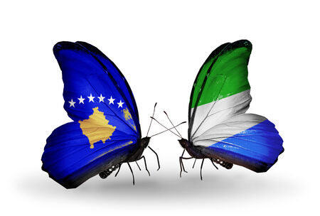Two butterflies with flags on wings as symbol of relations Kosovo and Sierra Leone photo