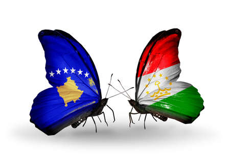 economy of tajikistan: Two butterflies with flags on wings as symbol of relations Kosovo and Tajikistan