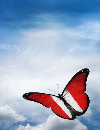 bandera peru: Per� bandera de mariposa volando en el cielo de fondo