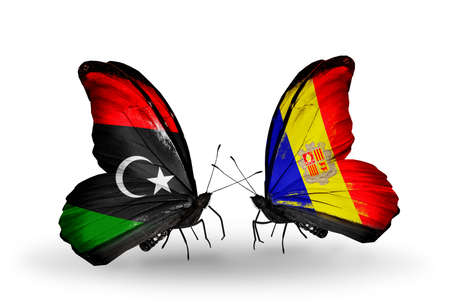 Two butterflies with flags on wings as symbol of relations Libya and Andorra photo