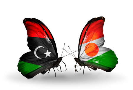 Two butterflies with flags on wings as symbol of relations Libya and Niger photo