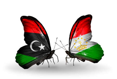 economy of tajikistan: Two butterflies with flags on wings as symbol of relations Libya and  Tajikistan