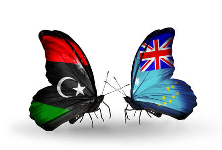 Two butterflies with flags on wings as symbol of relations Libya and Tuvalu photo